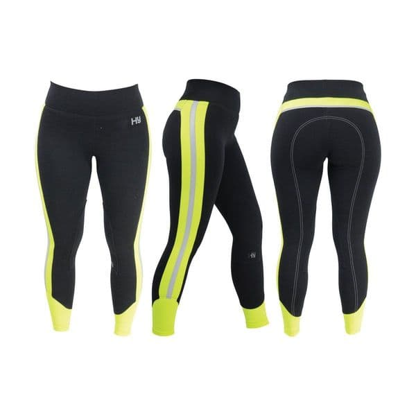 Reflector ladies breeches by hy equestrian - yellow/black